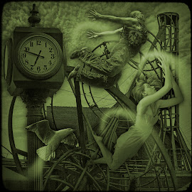 Flights in Dreams and Reality. by Eugene Goldin - Digital Art People ( digital collage, girl, flights, clock, roller coster )