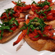Roasted Pepper and Celery Leaf Crostini