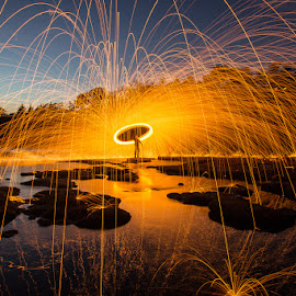 River Spin  by Jacob Gonzalez - Abstract Fire & Fireworks ( sacramento, steel wool, spinning, long exposure, american river )