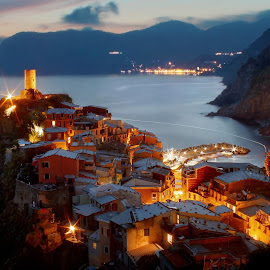 GLOWING VERNAZZA by Paolo Lazzarotti - City,  Street & Park  Vistas ( light glowing, red and blue colors, sunset, 5 terre, flat sea, christmas, vernazza, seascape, nativity )