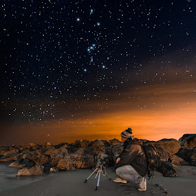 Night Photographer by Aaron Priest - People Professional People ( stars, breakwater, orion, state park, photographer, ocean, night, beach, atlantic, wallis sands, rye, new hampshire,  )