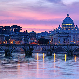 Night falling at Rome by Sérgio Martins - City,  Street & Park  Historic Districts ( demons, rome, tiver, bridge, vatican, angels, italy, river,  )