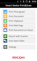 Screenshot of RICOH Smart Device Print&Scan