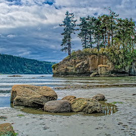 A Day at the Creek by Bill Camarota - Landscapes Beaches ( clouds, seastack, bay, creek, rocks, island )