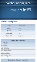 Screenshot of Italian dictionary