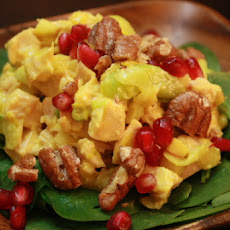Spicy and Sweet Chicken Apple Salad with Pomegranates and Pecans