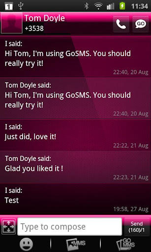 GOSMS Theme Dark Pink Gloss