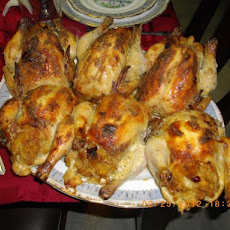 Roast Cornish Game Hens With Savory Fruit Stuffing