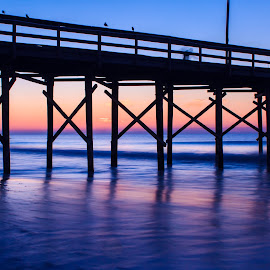 Sunrise through Pier by Carol Plummer - Buildings & Architecture Bridges & Suspended Structures ( nature, ocean, beach, sunrise, landscape, ocean isle,  )