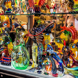 window display by Vibeke Friis - Artistic Objects Glass ( window display, colourful glass,  )