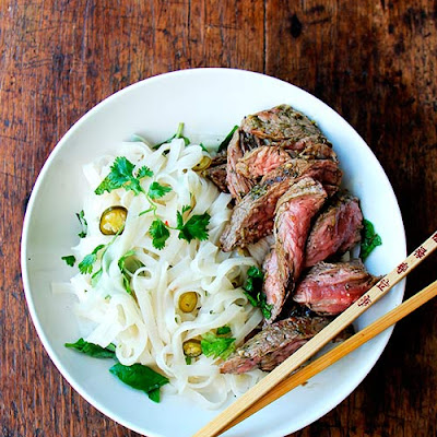 Grilled Chimichurri Skirt Steak with Rice Noodles and Nuoc Cham