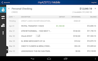 Screenshot of myAZSTCU Mobile