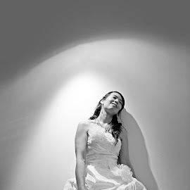 Bride in the light by Jason Lovell - Wedding Bride ( dress, wedding, woman, bride, light, flower )