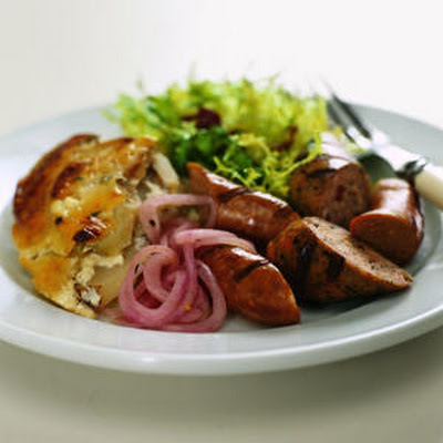 Grilled Sausages with Pickled Onions