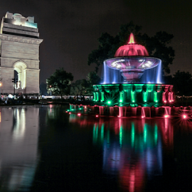 The India Gate by Dhiren Singh - City,  Street & Park  Fountains ( national capital, fountain, india, india gate, delhi )
