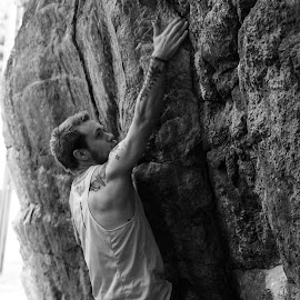 Almost by Patrik Lundin - Sports & Fitness Climbing ( climbing, black and white, muscles, tattoos, sport, rock )