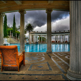 Hearst Patio by Fred Coleman - Buildings & Architecture Public & Historical ( hearst, hdr, pool, california, patio, castle, architecture, west, coast, san simeon )