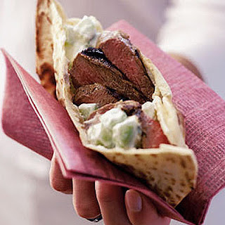 Marinated Lamb Steaks In Flat Bread
