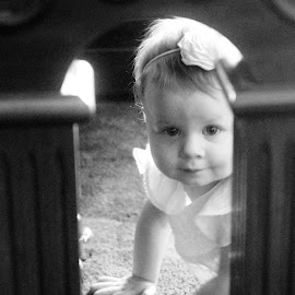 Babe Under The Piano by Skylar Marble - Babies & Children Babies ( baby piano blackandwhite )