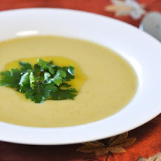 Creamy Leek and Roasted Garlic Soup with Parsley Oil