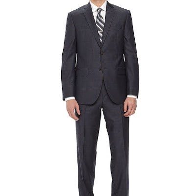 Neiman Marcus Two-Piece Neat Wool Suit, Navy - (46R)