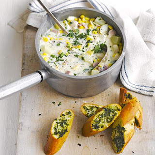 Smoked Haddock & Sweetcorn Chowder With Herby Garlic Bread