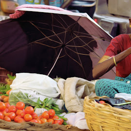 Shivajinagar, banglore by Nithi Nithin - City,  Street & Park  Markets & Shops ( bangalore, market, street, vegetables, old woman )