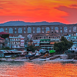 Kavala by Stratos Lales - City,  Street & Park  Vistas ( aquaduct, strret, sunset, sea, roman )