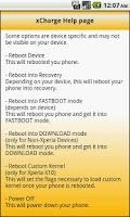 Screenshot of xCharge reboot options