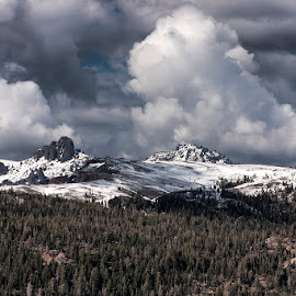 by Sam Okamoto - Landscapes Cloud Formations ( clouds formation, california, forest, snowy mountain, pass )