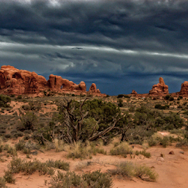 Dark clouds over the Arches by Travis Pambu - Landscapes Prairies, Meadows & Fields (  )