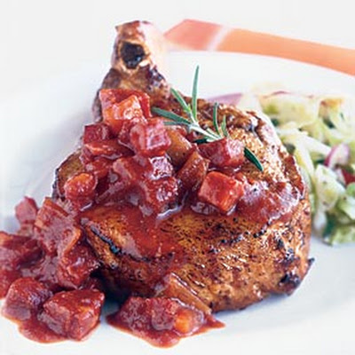 Grilled Pork Chops with Chunky Andouille Barbecue Sauce