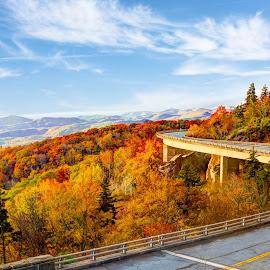 Linn Cove Viaduct by Rodney Martin - Landscapes Mountains & Hills ( mountain, autumn, fall foliage, bridge, linn cove viaduct )