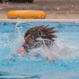 racing for the end by Vibeke Friis - Sports & Fitness Swimming ( man, swimming, water splash,  )
