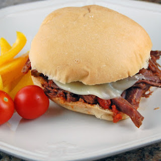 Pizza Steak Sandwiches in the Slow Cooker