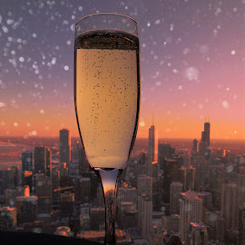 Skyline Winter Celebration by Tricia Scott - Food & Drink Alcohol & Drinks ( happy hour, skyline, champagne, sunset, drink, chicago, city, creativity, lighting, art, artistic, purple, mood factory, lights, color, fun )