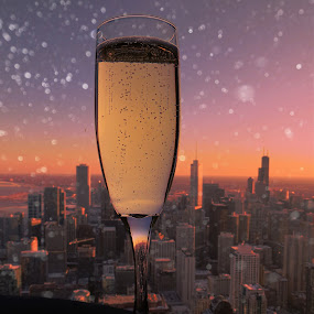 Cheers To The City by T Sco - Food & Drink Alcohol & Drinks ( happy hour, skyline, champagne, purple, art, fun, creativity, city, lights, #garyfongdramaticlight, new, lighting, color, sunset, drink, glass, artistic, year, chicago, mood factory,  )