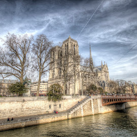 notre dame on the seine by Ben Hodges - City,  Street & Park  Historic Districts ( paris, europe, notre dame, hdr, france )