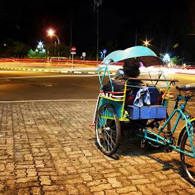 Becak (Tricab) by Pradono Gunawan - City,  Street & Park  Street Scenes ( slowspeed, tricab, lighttrail, street )