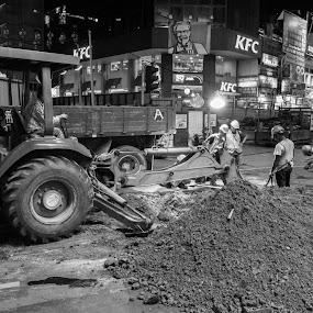 Midnight Work by Loke Inkid - Black & White Street & Candid ( work, bulldozer, bw, men, construction,  )