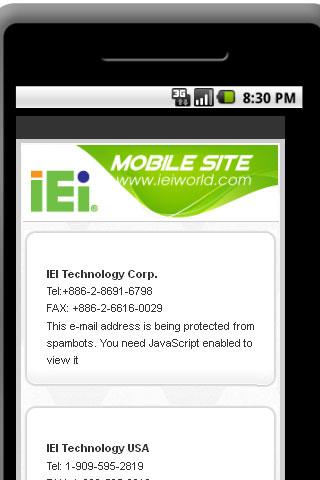 IEI Partner Zone Mobile site