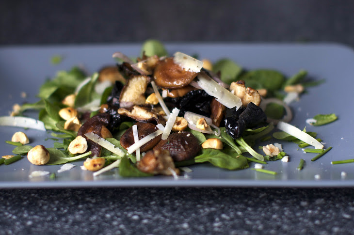 Warm Mushroom Salad with Hazelnuts and Pecorino