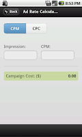 Screenshot of Ads CPM and CPC Calculator