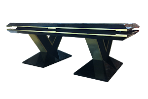 Custom Designed Pool Table - Ebonised Finish with Shagreen and Brass Detailing