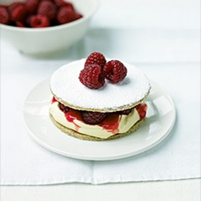 Hazelnut Shortbreads with Raspberries