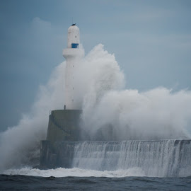 Storm and the Protector by Alexandra S - Buildings & Architecture Other Exteriors ( scotland, waves, lighthouse, weather, storm )