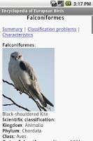 Screenshot of Encyclopedia Of European Birds