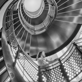 Stairway to heaven by Jeroen Gordijn - Nudes & Boudoir Artistic Nude ( sexy, model, nude, black and white, staircase )