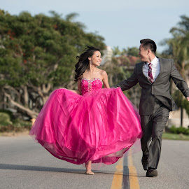 Run Away With Me by Yansen Setiawan - Wedding Other ( creative, art, losangeles, illusion, love, yansensetiawanphotography, fineart, prewedding, d800, wedding, lifestyle, la, photographer, pink, yansensetiawan, nikon, yansen, pink dress, engagement )