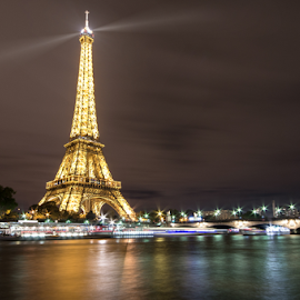 The One And Only by Fabian Lackner - Buildings & Architecture Public & Historical ( eiffeltower, skyline, city, lights, paris, eiffelturm, seine river, dark, night, view, black, tour de eiffel, river )